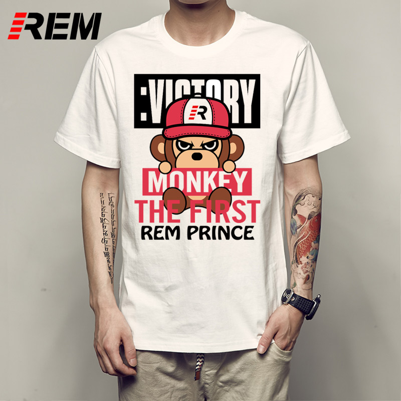 REM Monkey Baseball Scooter Cartoon Monkey T Shirt Men Vintage Cotton Crewneck Short Sleeve Folk Design
