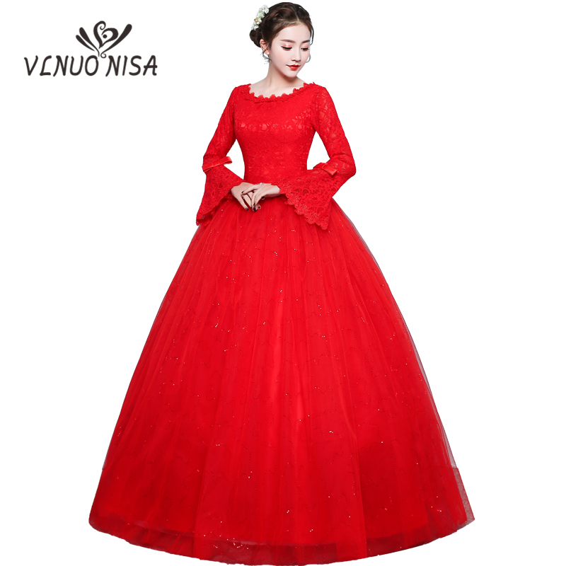 Vestido De Noiva 2018 New Red Wedding Dress Vintage Flare Sleeve Bow Wedding Dress Plus Size Bling Bling Wedding Dress