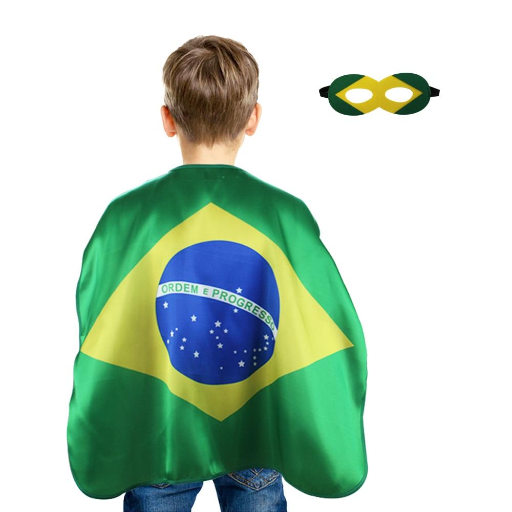 Especial 70*70 cm, Brasil banderas máscara de capa de la Copa del Mundo de fútbol brasileño Fans estadio celebrar partidarios regalo Carnaval regalos