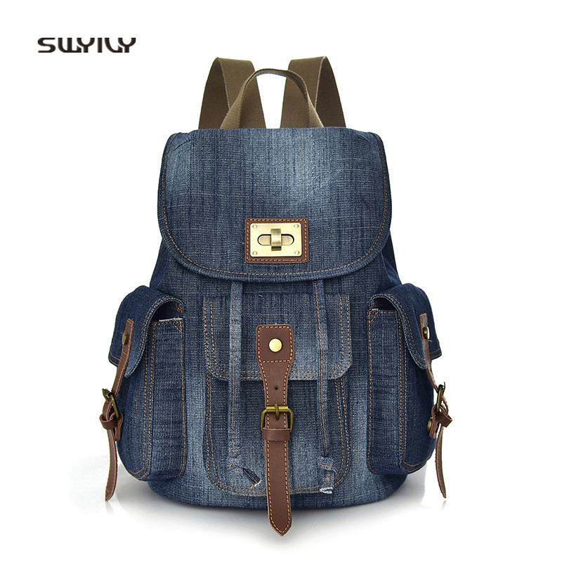 SWYIVY Woman Backpack Denim Canvas Bag 2018 Blue Female Casual Shoulder Bag Multi Pocket Retro Womens Backbag Travel
