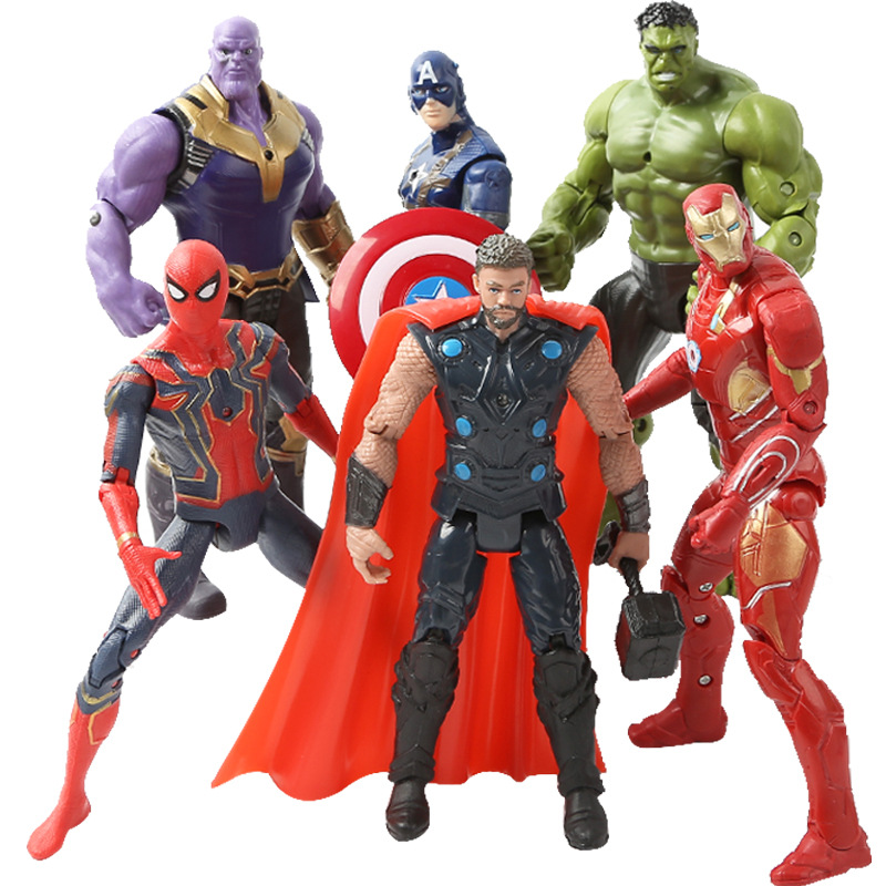 6pcs Super Hero The Avenger Action Figure Thor Captain America Wolverine Spider Man Iron Man Hulk PVC Action Figure Toy With LED in Action Toy Figures from Toys Hobbies