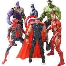 цена на 6pcs Super Hero The Avenger Toys Marvel Thor Captain America Wolverine Spider Man Iron Man Hulk PVC Action Figure Toy LED Dolls