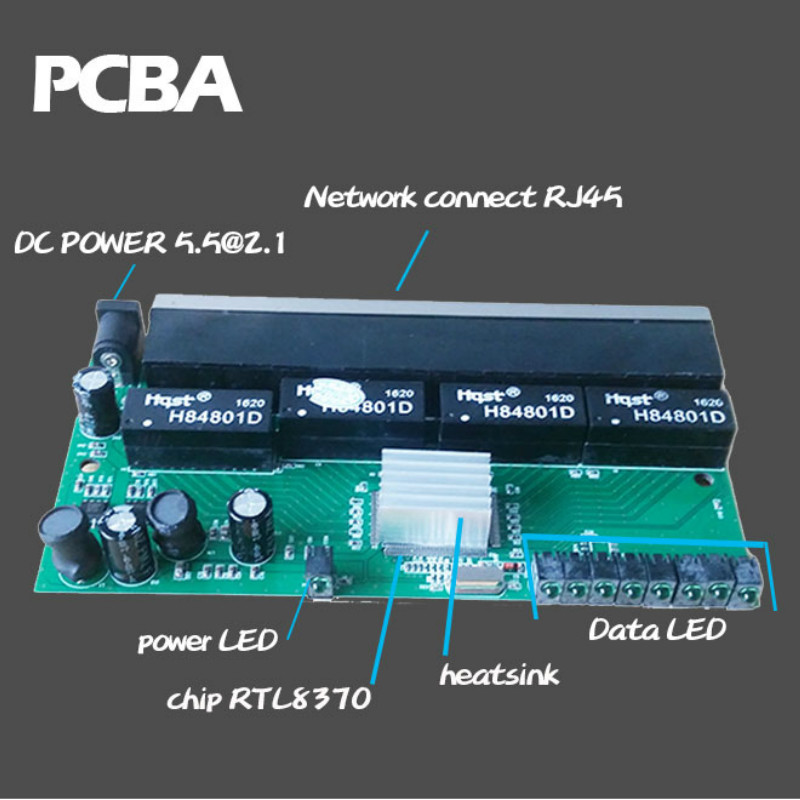 OEM 10 / 100mbps RJ45 8 Port Fast Ethernet Switch Lan Hub US EU Plug 5v Adapter Power Supply Network Switch 4