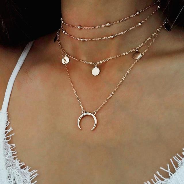 b16f27a183239 2017 Or Chaîne Multi couche Lune Collier Ras Du Cou Pour Femmes Perles Coin  Tour de