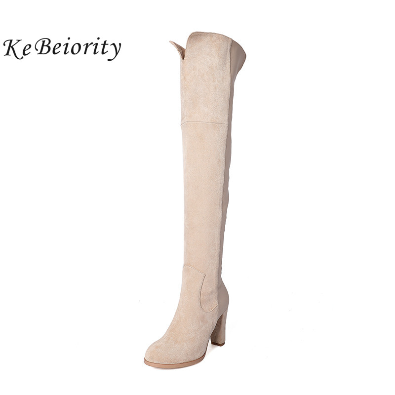 KEBEIORITY New Fashion Over the knee Boots Heels Black Beige Autumn Thigh High Boots for Women Sexy Long Boots High Heels 2017 балетки увеличенная полнота