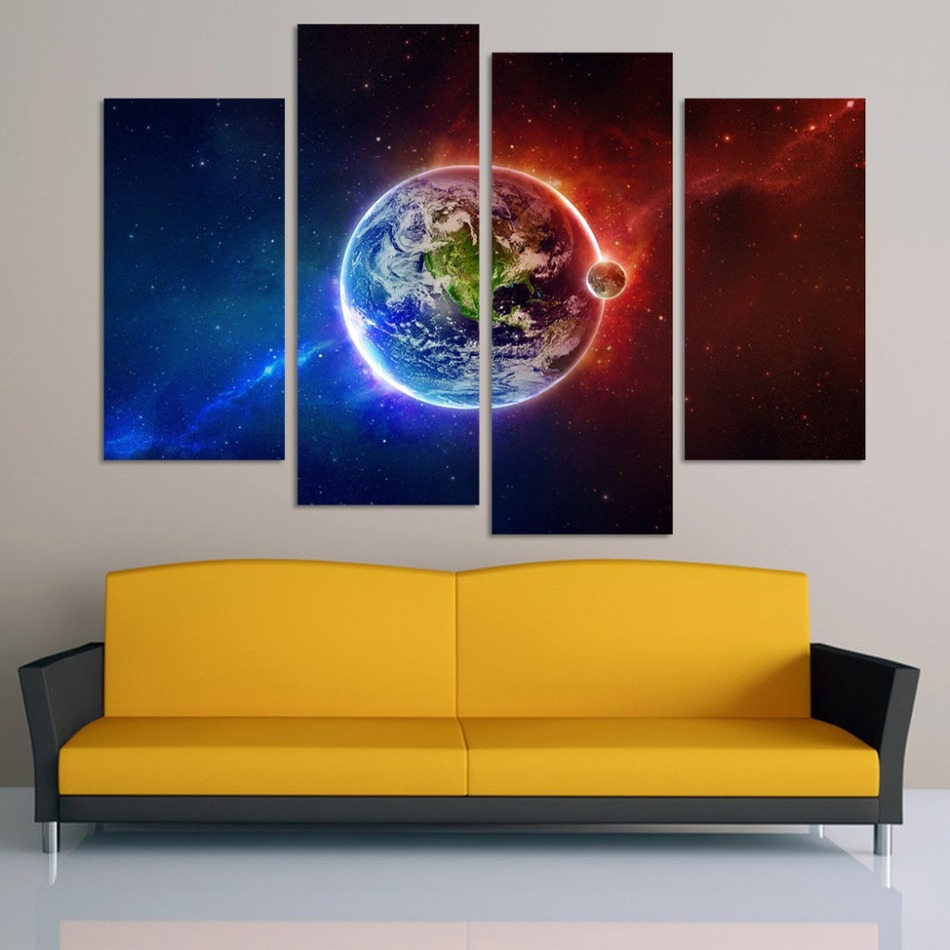 Free shipping 5 Piece Colorful Sunrise Modern Home Wall Decor Canvas ...