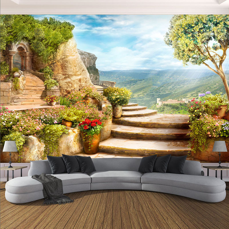 wall mural 3d living garden murals custom nature european bedroom landscape decor painting space balcony background stereoscopic stairs covering backdrop