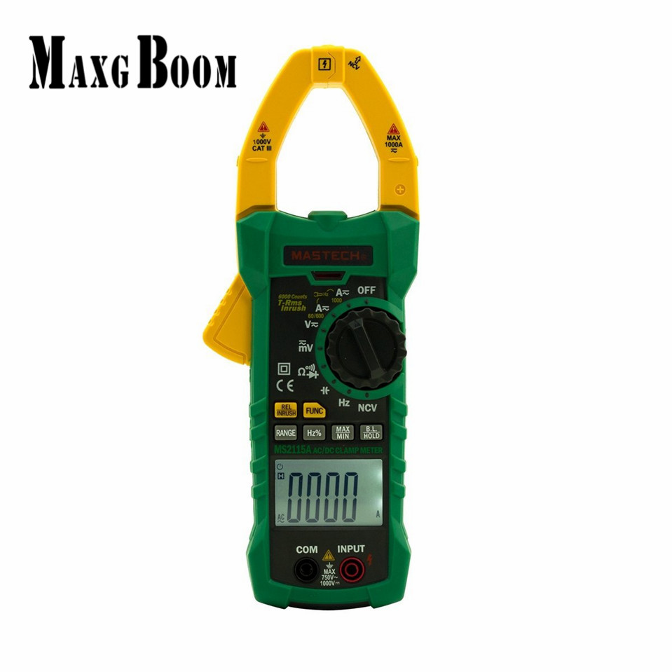 MaxgBoom Mastech MS2115A 6000 Counts True RMS Digital Clamp Meter AC/DC Voltage Current Tester with INRUSH and NCV Measurement mastech ms2108 t rms ac dc auto rg clamp meter tester max hold backlight inrush vs free shipping