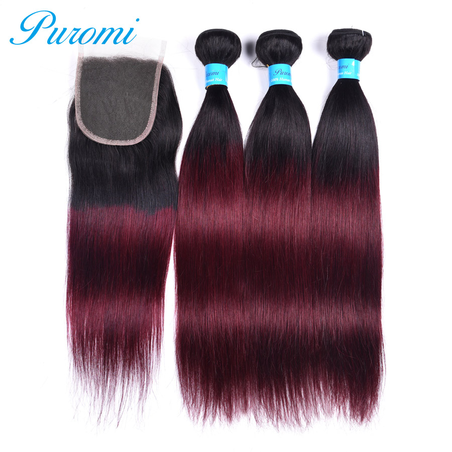 Puromi 3 Bundles Straight Hair with Closure 1b/99j Ombre Hair Extensions 100% Non-remy Malaysian Hair Bundles with Closure