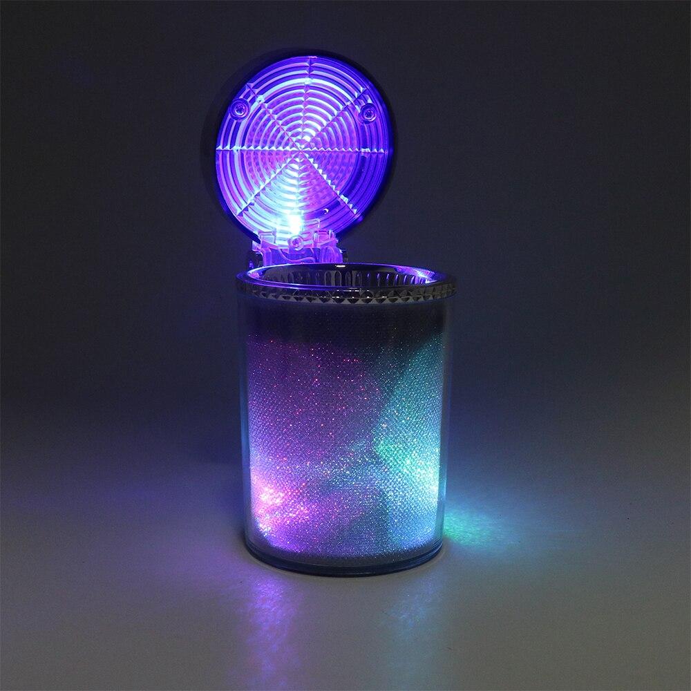 Cendrier de voiture avec lumière LED Cigarette cigare cendrier conteneur fumée cendres cylindre fumée porte-gobelet rangement tasse Auto accessoires