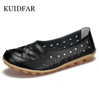 New Women Casual Shoes Breathable Leather Denim Bottom Defensive Peas Flat Down Leisure Mom Shoes Big