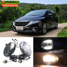 eeMrke For Honda ODYSSEY 2 in 1 Double Led Guiding DRL Fog Lights Lamp With Q5 Lens Daytime Running Lights