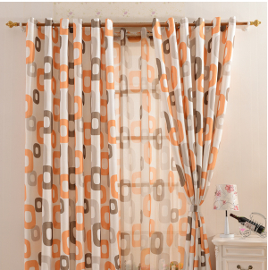 Modern brief rustic dodechedron curtain piaochuang finished product quality living room curtain
