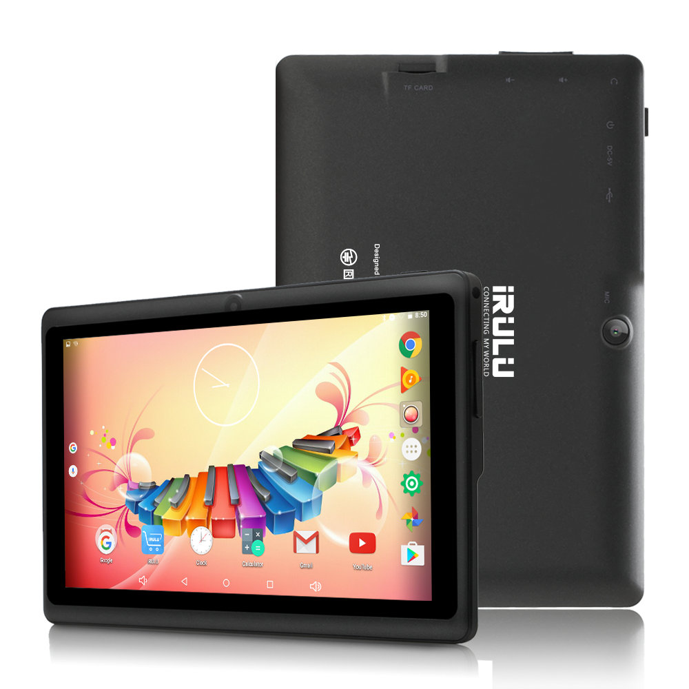 IRULU 7 Inch Tablet Google Android 8.1 Quad Core Dual Camera Wi-Fi Bluetooth 1GB/8GB Play Store Skype (Black)