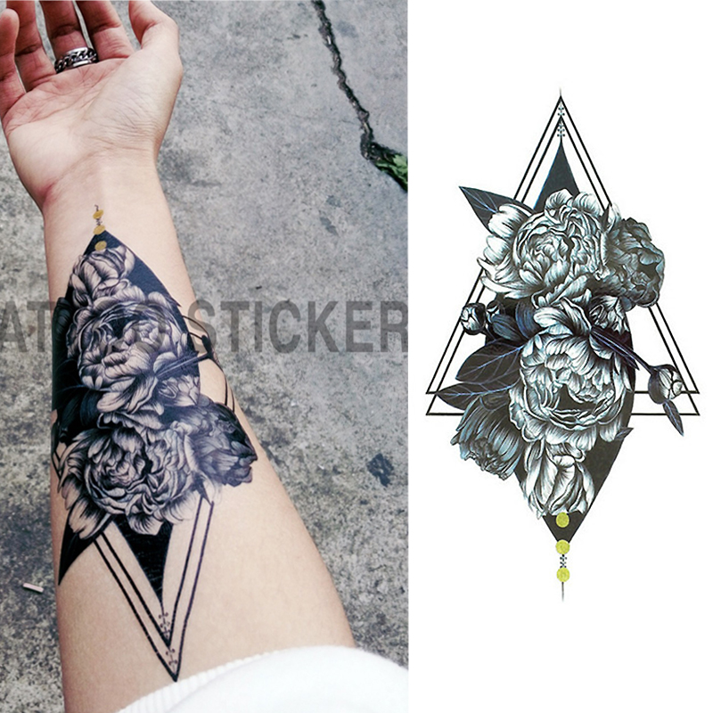 1 Pieces/set Small Full Flower Arm Temporary Waterproof Tattoo Stickers Fox Owl for Women Men Body Art circle