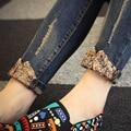Nuevos 2017 Vaqueros de Las Mujeres Pantalones Vaqueros Flacos Delgados Femenino Floral Costura Denim Pantalones de Las Señoras Pantalones Mujer Plus Tamaño Jeans Stretch B309