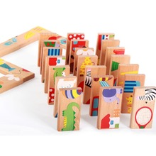 Купить с кэшбэком 28PCS Wooden Puzzle Multicolor Animal Dominoes Cartoon Montessori Early Educational Baby Toys Games Cute Gifts For Kids Children