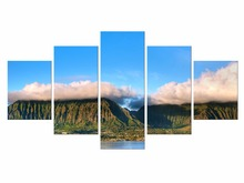 5 Pieces Free shipping HD print landscape canvas painting barn rocky mountains paintings Home decoration Framed