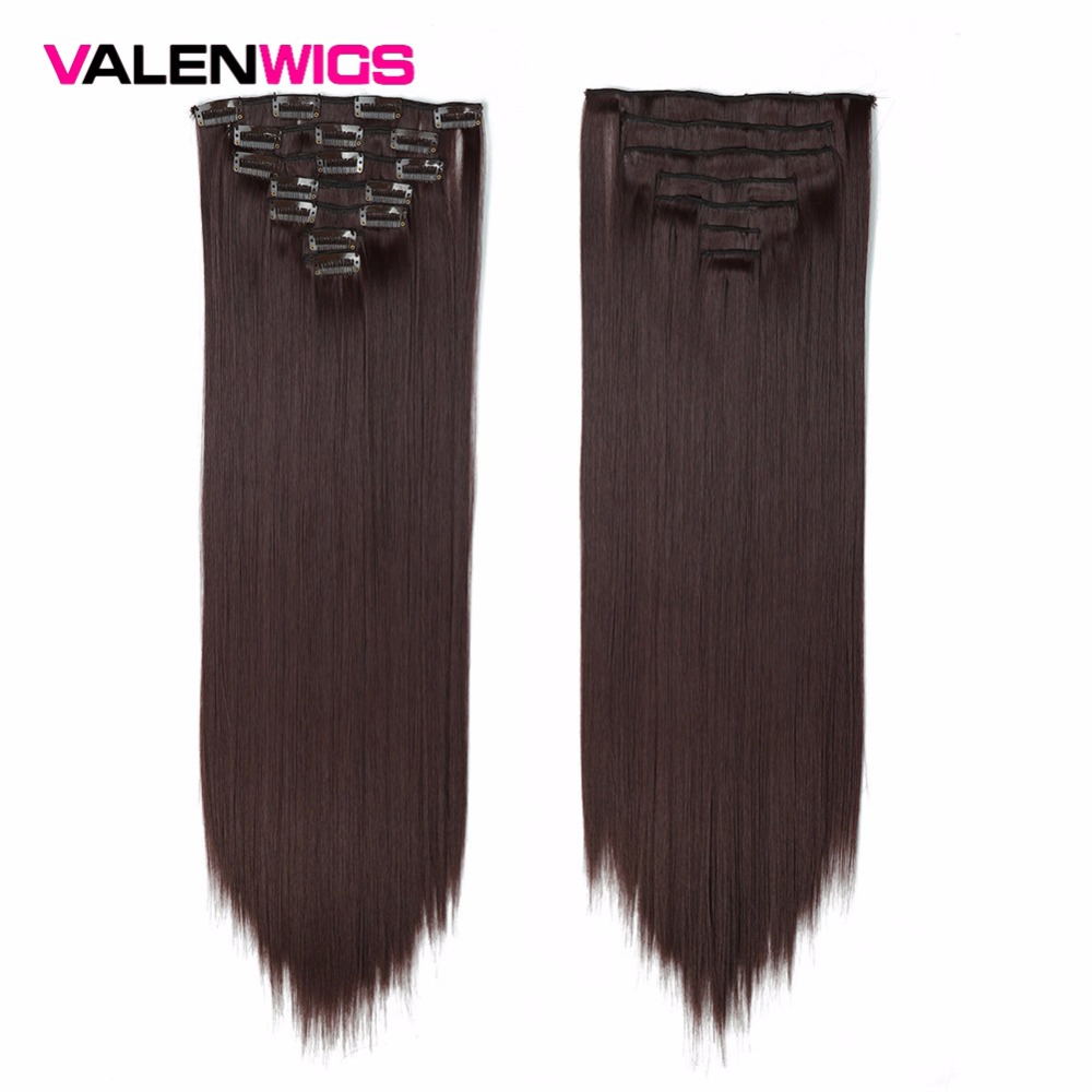 "Valenwigs Synthetic Hair Extensions Clip In Hair Extensions 22"" 100g Full Head Clip On Hair Extension Straight Fiber HairPieces"