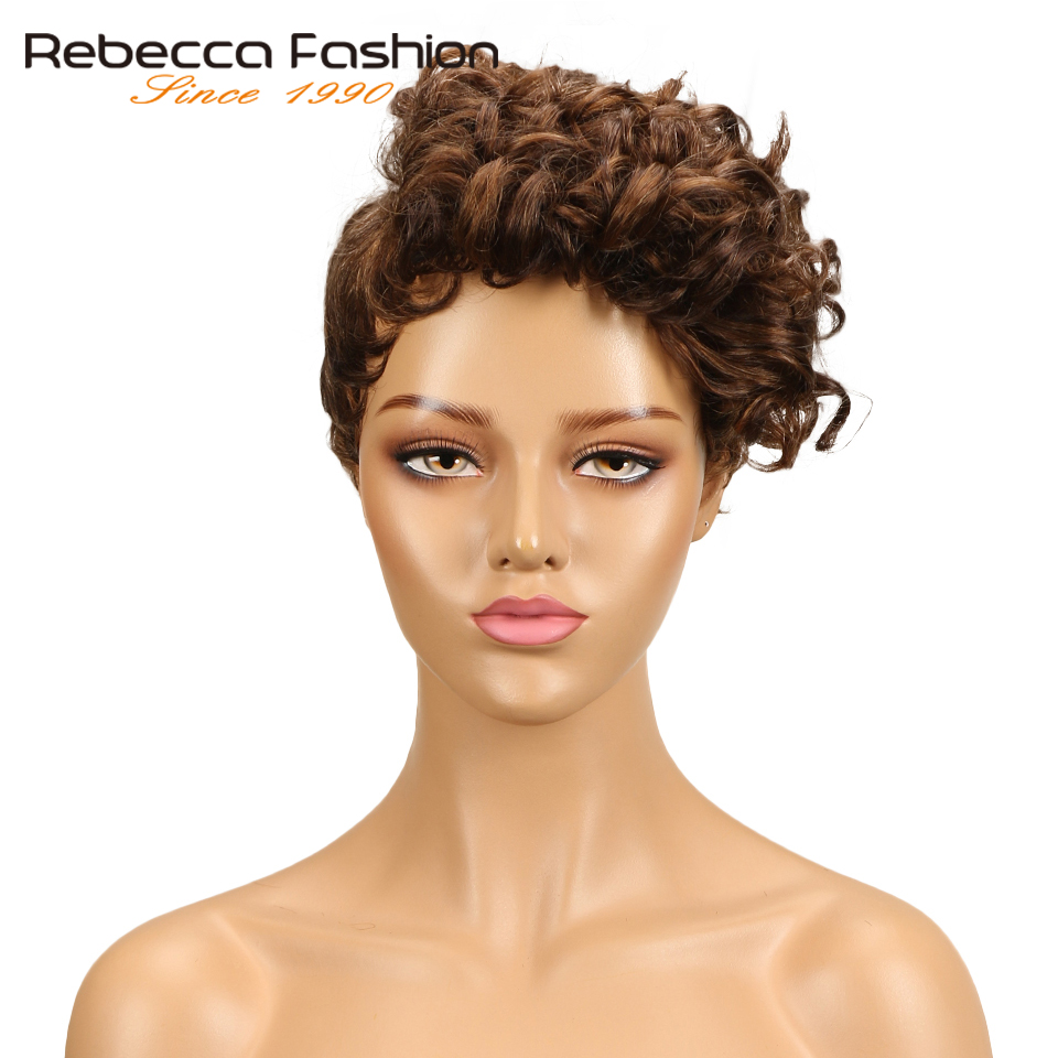 Rebecca Ombre Short Natural Dream Curly Hair Wig Peruvian Remy Human Hair Wigs For Black Women Mix Brown Red Free Shipping