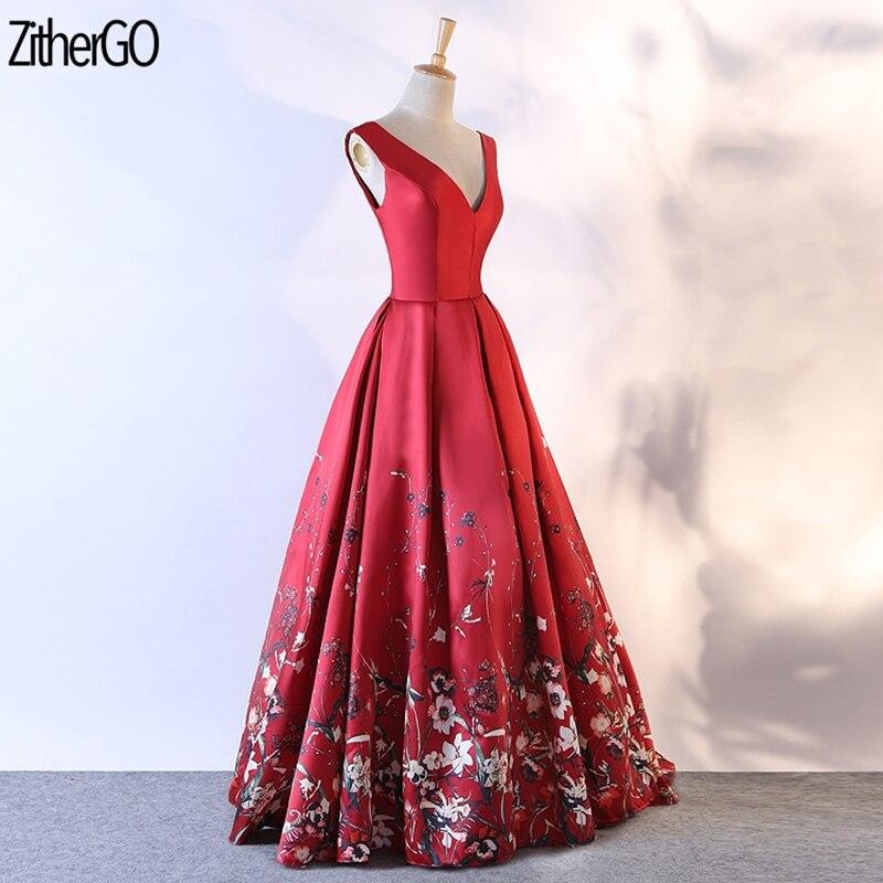 ZitherGo élégant rouge Royal longue demoiselle d'honneur a-ligne robes 2018 robe de soirée de mariage femmes mode Slash cou robe sans manches