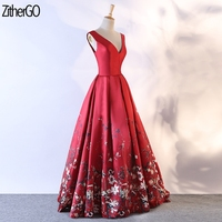 ZitherGo Elegant Red Royal Long Bridesmaid A line Dresses 2018 Wedding Party Dress Women Fashion Slash neck sleeveless dress