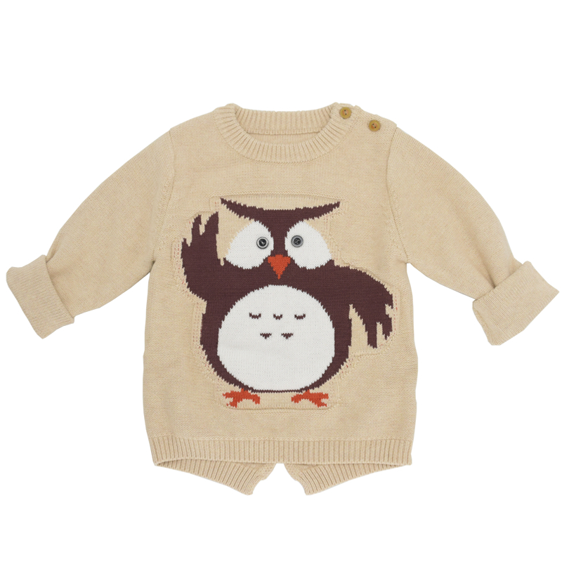 2018 Autumn Baby Sweaters Cartoon Cute Owl Casual Cotton Boys Knit Sweater Children Jumper Owl Animal Sweater 2-8Year pocket front rib knit boxy jumper