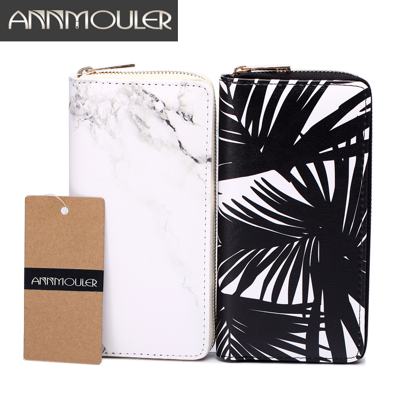 2016 Brand Women's Fashion Leaves Marble Printed Wallet Leather Long Purse Quality Zipper Day Clutch Brass Zipper Casual Holders