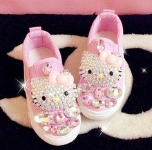 2016 Children's canvas shoes spring autumn girls diamond princess baby shoes casual shoes students fashion parent-child  shoes