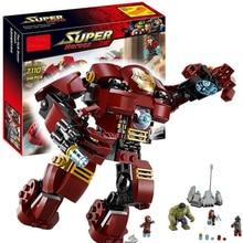 7110 Совместимость с Legoing Marvel Super Heroes 76031 Мстители Строительные блоки Ultron цифры Железный человек Халк Бастер Кирпичи Игрушка