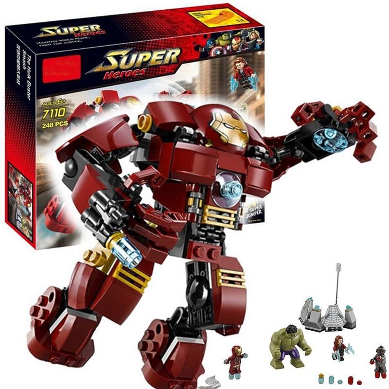 7110 Compatible con Legoing Marvel Super Heroes 76031 vengadores bloques de construcción Ultron cifras de hierro hombre Hulk Buster ladrillos de juguete