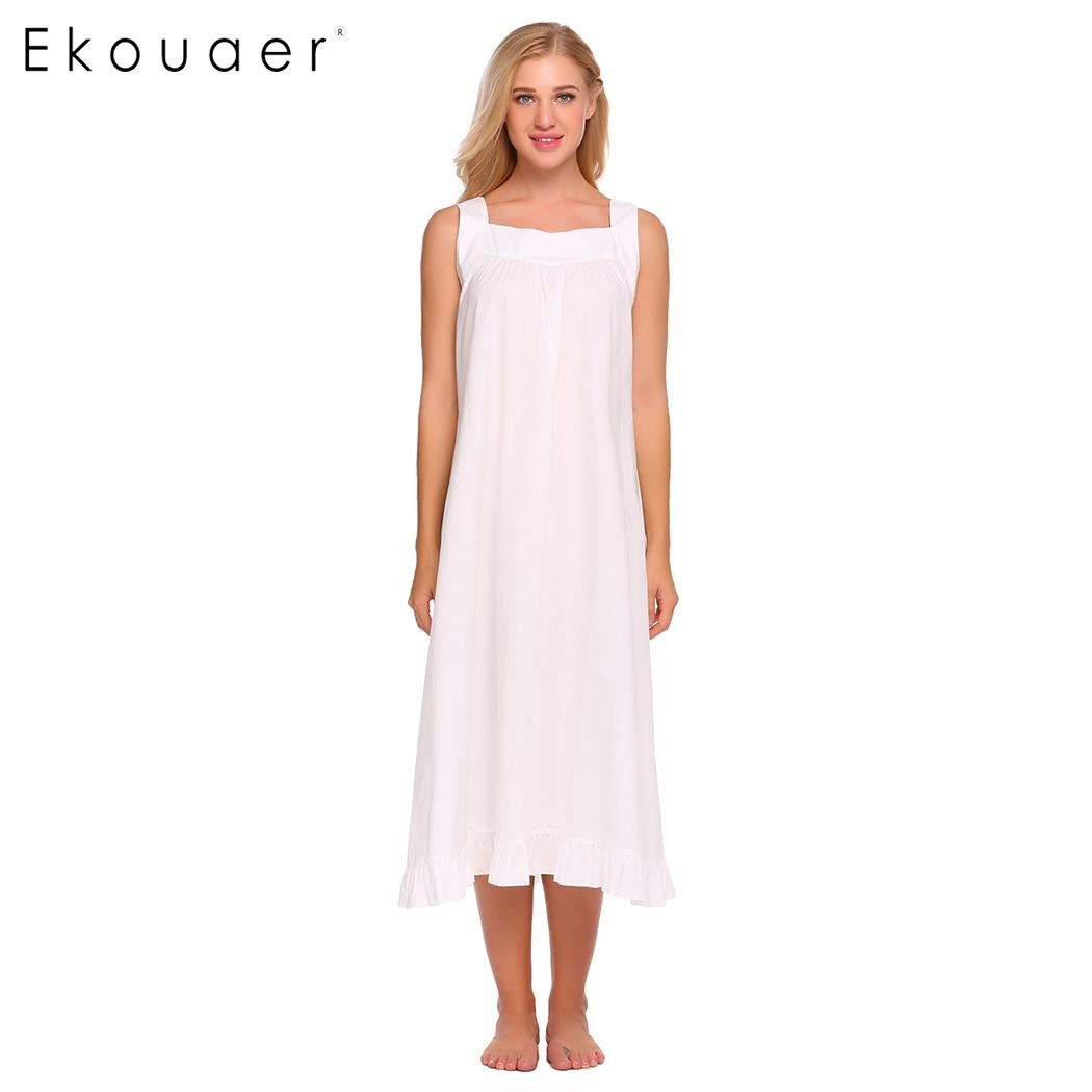 Ekouaer Brand Elegant Nightwear Womens Victorian Sleeveless Long Dress  Solid Ruffled Hem Nightgown Casual Loose Sleepwear-in Nightgowns    Sleepshirts from ... b1c3612a5
