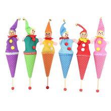 Детские деревянные развивающие игрушки клоун погремушка с героями мультфильмов игрушки выдвижной улыбающийся клоун прятки играть Колокольчик для детей куклы