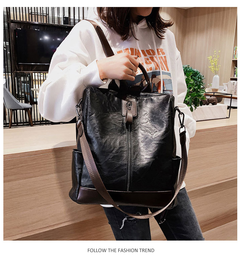 HTB1RvEbboLrK1Rjy1zbq6AenFXag Fashion Women High Quality Leather Backpack Multifunction Leatherett Backpack For Female Big Bookbag Travel Bag Sac A Dos XA279H