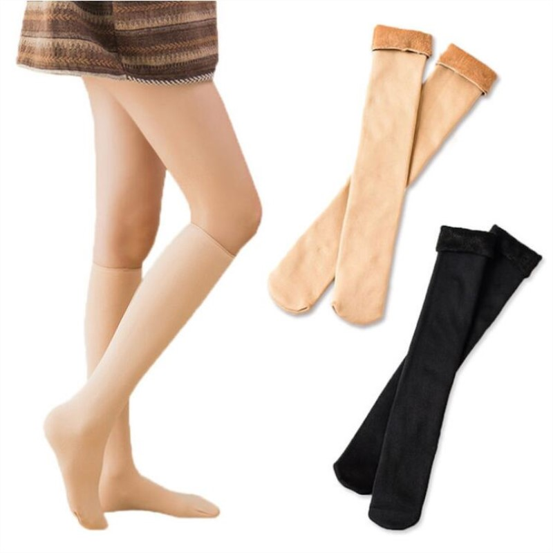 Jeseca New Warm Winter Thick Women Thermal Cashmere Snow Stockings Seamless Velvet Boots Floor Female Below Knee Long Stockings