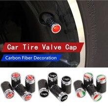 5 комплектов шина колпачки автомобиль эмблемы логотипа Тюнинг автомобилей клапан крышки шины крышки клапана углеродное волокно украшения автомобильные аксессуары