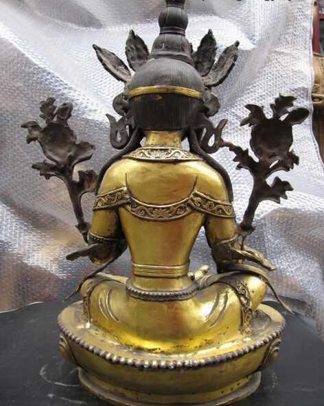 """Shitou 002346 23 """"Тибетский буддизм бронза Медный позолоченный Зеленая Тара Кван-Инь Будда Гуаньинь статуя"""