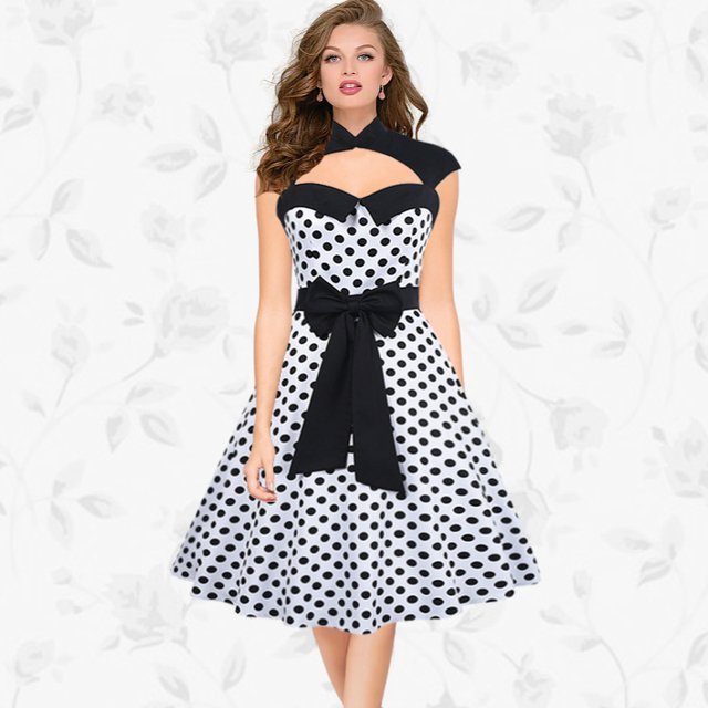 ccb02fd82a36 Audrey Hepburn Vintage Polka Dots Patchwork Belt Tunic Party Dress Women  Casual Cocktail Retro 50s 60s Dresses Robe Vestidos