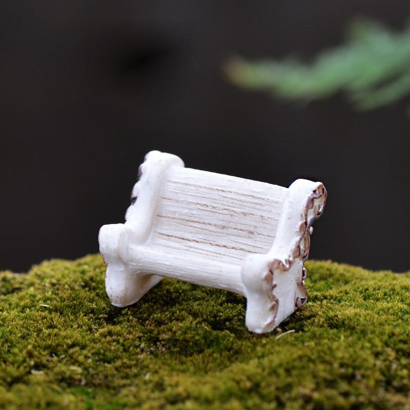 1Pcs White Seat Chair DIY Resin Fairy Garden Craft Decoration Figurines Miniature Micro Landscape Gnome Terrarium Gift