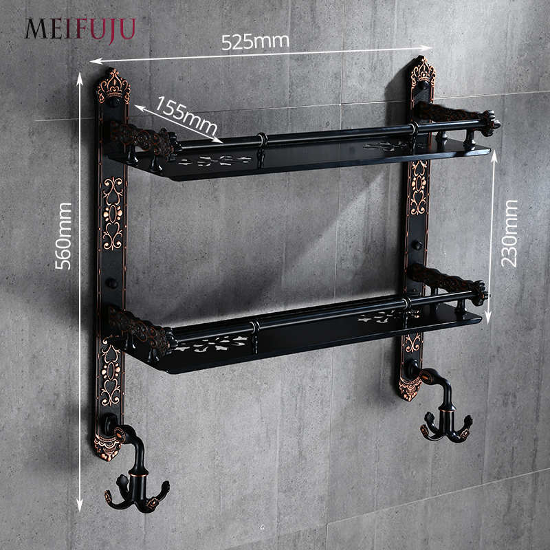 MEIFUJU Aluminum Bathroom Shelf Black Gold Bathroom Shelves Rack ...