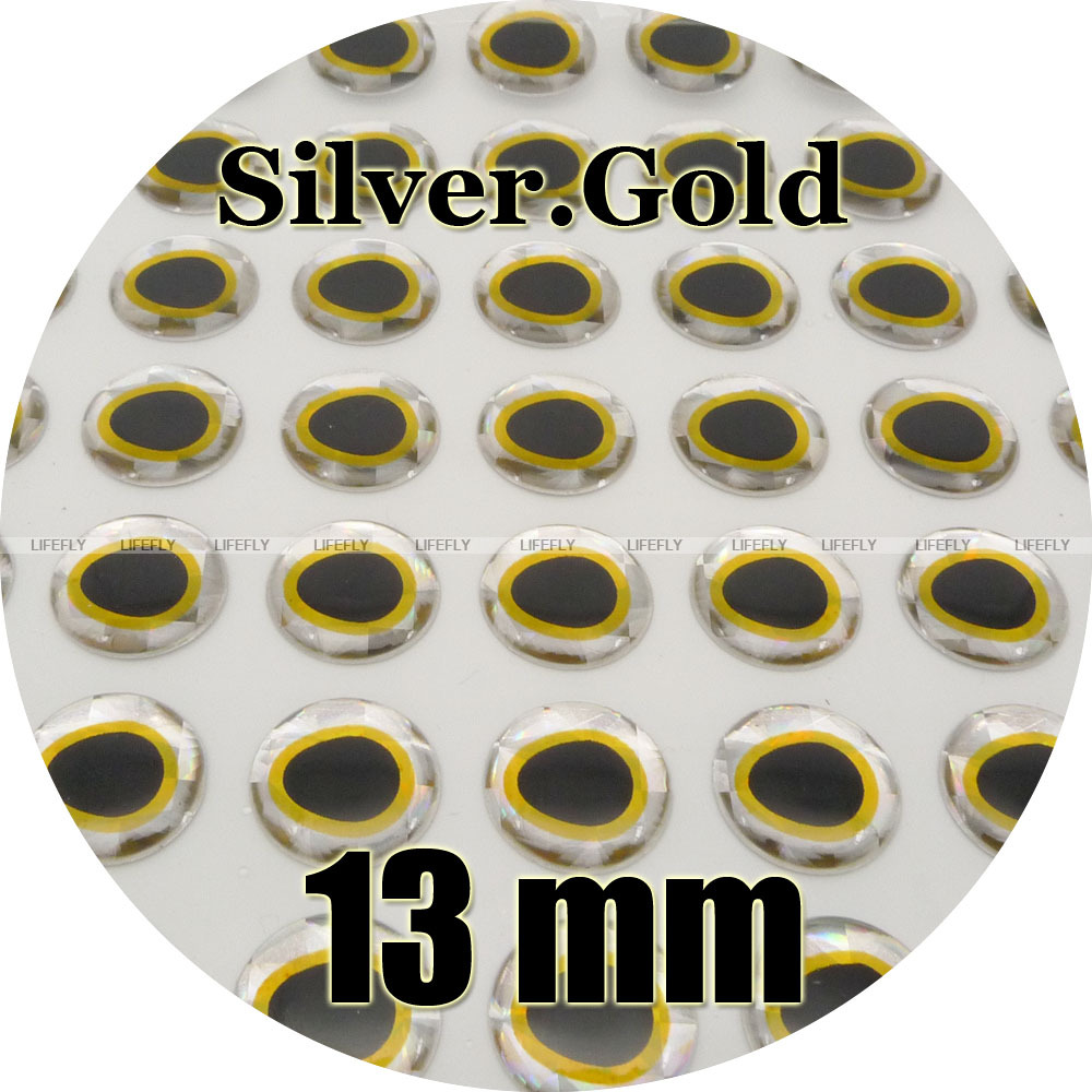 Realistic Fish Eyes 5mm 6mm 7mm 3D Holographic Soft Molded Eyes Silver/&Gold