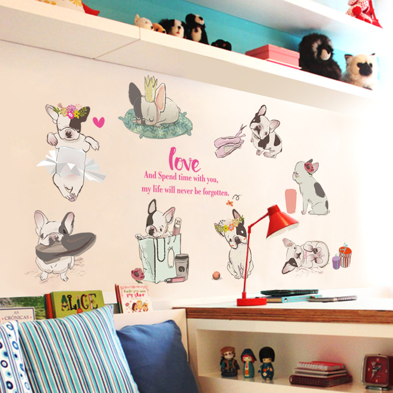 Childrens Room Kindergarten Cartoon Dog Wall Sticker Classroom Cabinets Wardrobe Wall Stickers For Kids Rooms Sticker Mural
