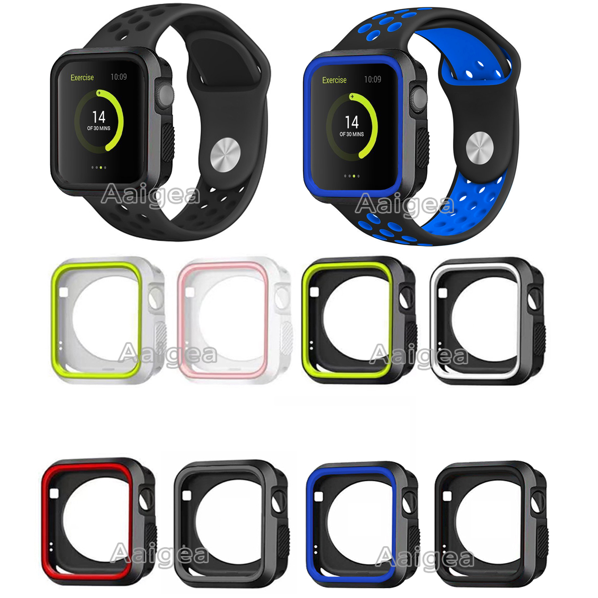 New Dual Colors Soft Silicone Case Bumper For Apple Watch iWatch Series 1 2 3 38mm 42mm All Model Full Protection Cover Frame series 1 2 3 soft silicone case for apple watch cover 38mm 42mm fashion plated tpu protective cover for iwatch