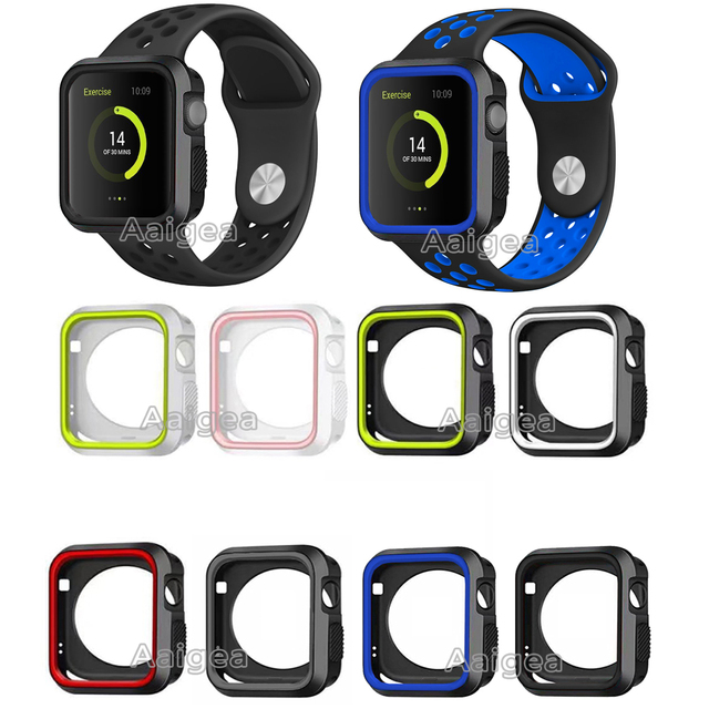 514ec9e5b4a New Dual Colors Soft Silicone Case Bumper For Apple Watch iWatch Series 1 2  3 38mm