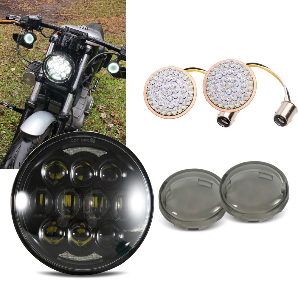 "5-3/4"" 5.75"" LED Headlight + Smoked Bullet Front Turn Signal LED Lights For  Dyna Softail Sportster Iron 883"