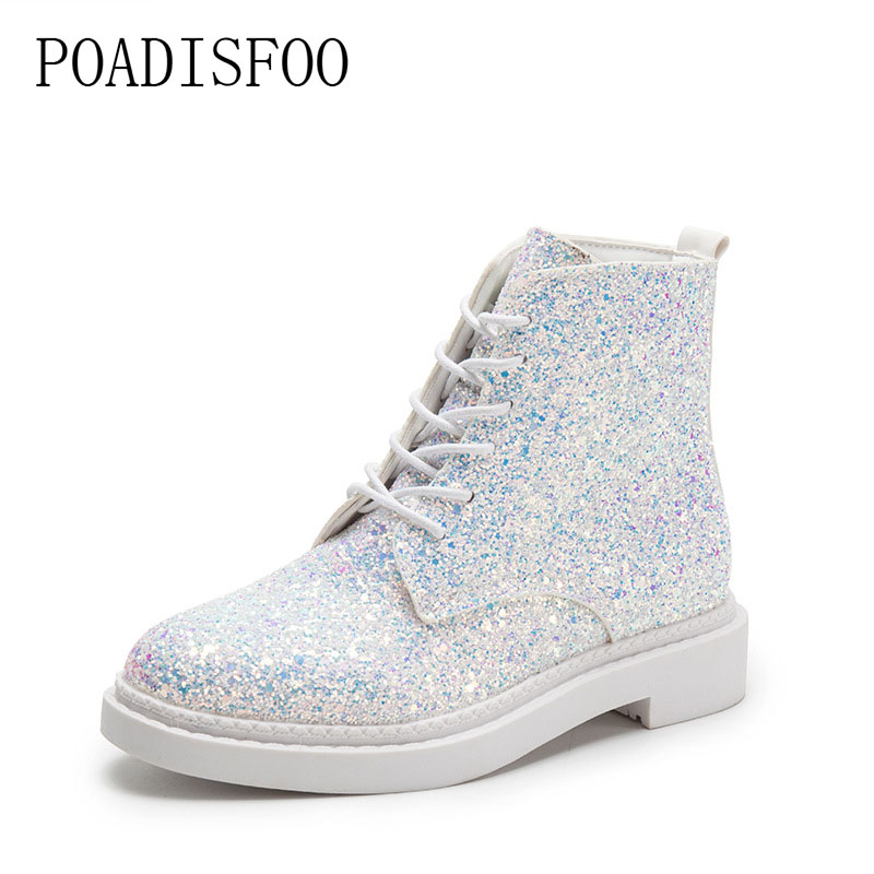 POADISFOO  Women shoes Martin boots 2017 new senior PU Round Toe Square heel Low heel Sweet Bling Lace-Up Ankle Boots.CBSL-FS707 цены онлайн