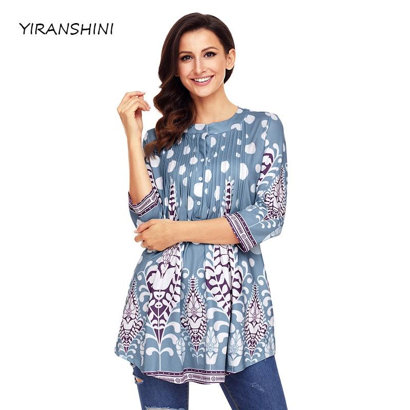 YIRANSHINI 2018 New Fashion Light Blue White Floral Print Flowy Women T O-Neck Casual Top Sexy Women T-Shirts LC250472