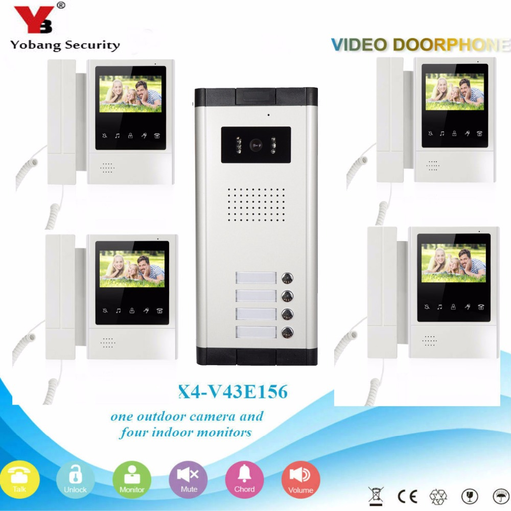 YobangSecurity 4 Units Apartment Video Intercom 4.3 Inch Color LCD Video Door Phone Doorbell Intercom IR Camera Monitor System