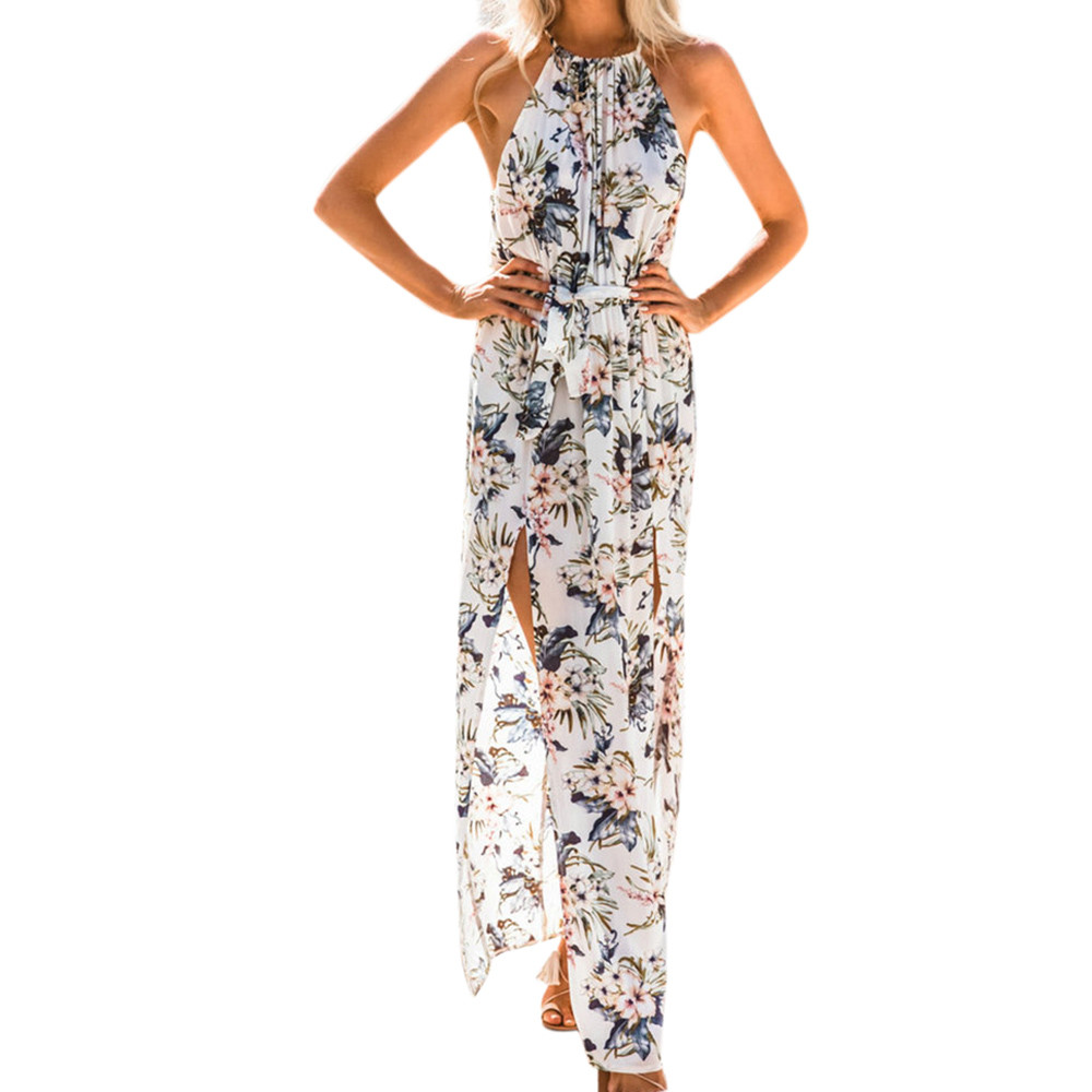 Free Ostrich Women Summer Boho Long Maxi Party Beach Dress Sleeveless Floral Dresses Ladies Womens Print Flower Casual D1735