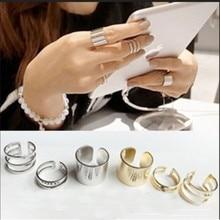 KUNIU NEW FASHION 3Pcs/Set  ring Sliver New Gold Silver Plated Shiny Fashion Band Midi Finger Knuckle Stack Rings
